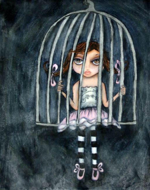 cage -girl sitting